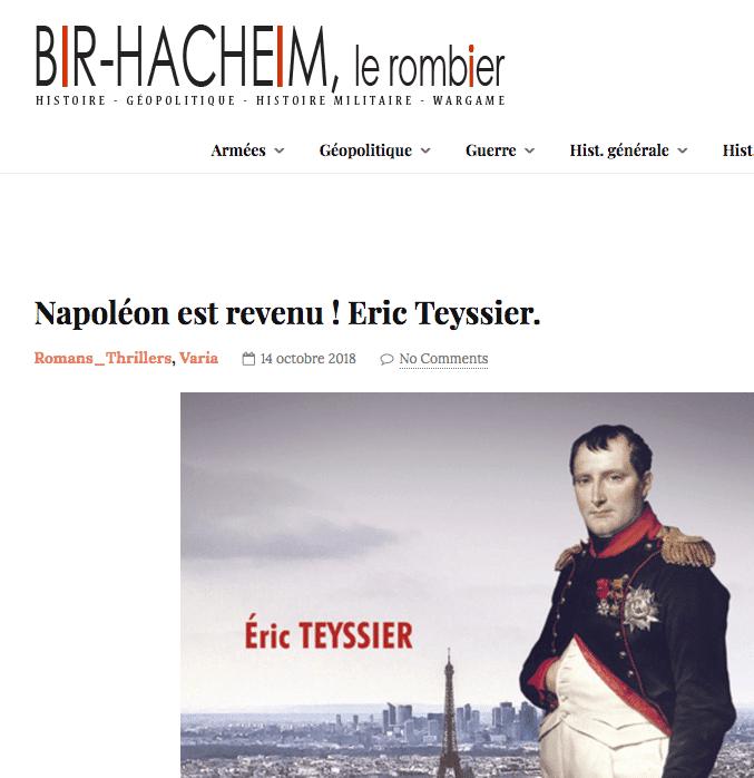 Couverture du roman historique d'histoire contemporaine Napoéon est revenu ! sur le site du blog Bir-Hacheim