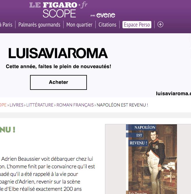 Roman historique d'histoire contemporaine Napoléon est revenu ! sur le site Evene Le FIgaro