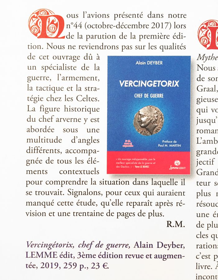 Article Keltia n° 50 Vercingetorix chef de guerre 3e édition Alain Deyber
