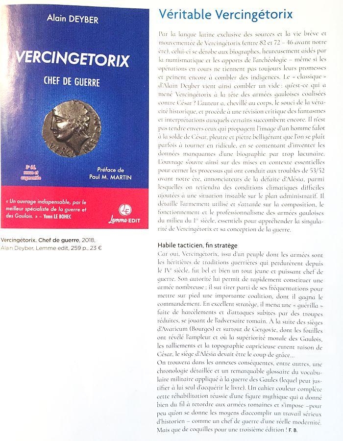 Article Archéologia n° 575 Vercingetorix chef de guerre 3e édition Alain Deyber