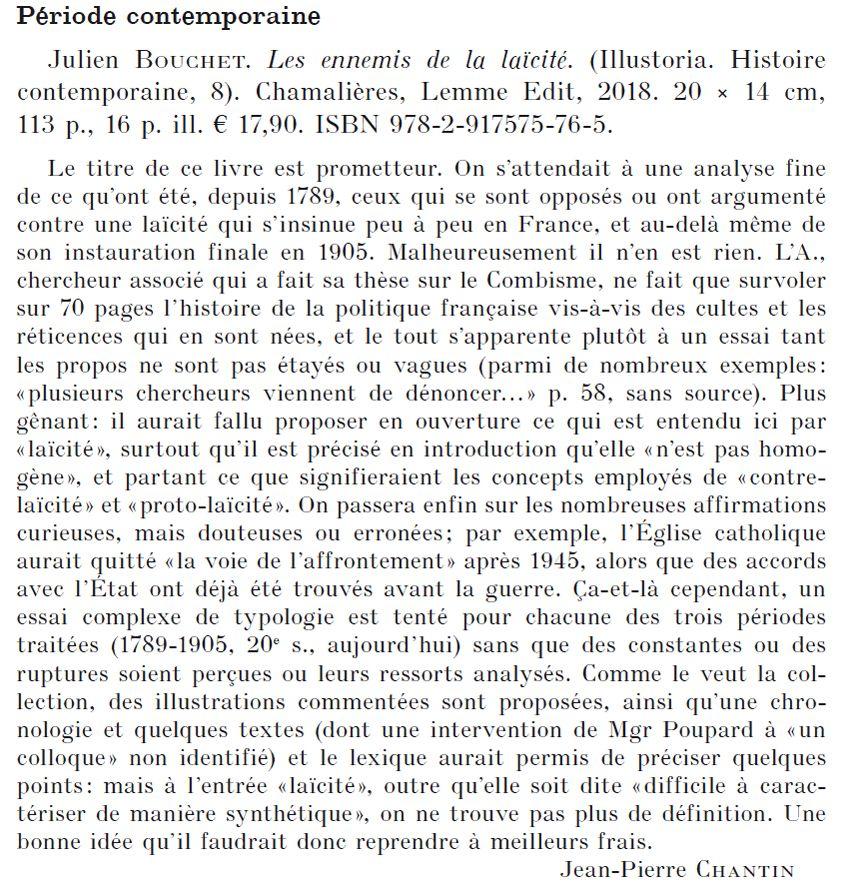 Revue d'Histoire Ecclésiastique Les ennemis de la laïcité Julien Bouchet