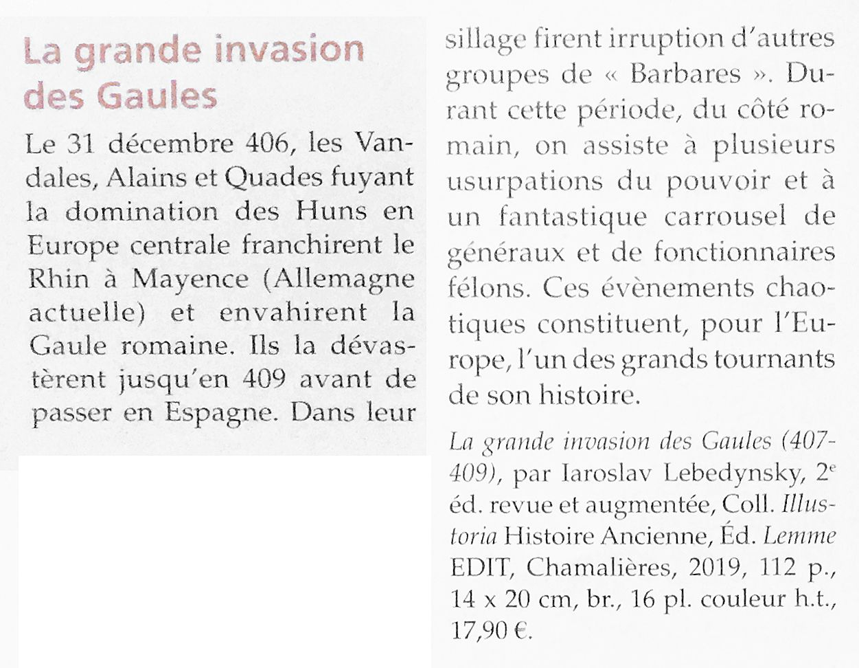 La grande invasion des gaules (2e éd.) Iaroslav Lebedynsky dans L'Archéologue numéro 151