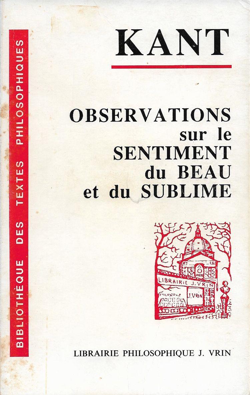 Couverture Observations sur le sentiment du beau et du sublime Emmanuel Kant