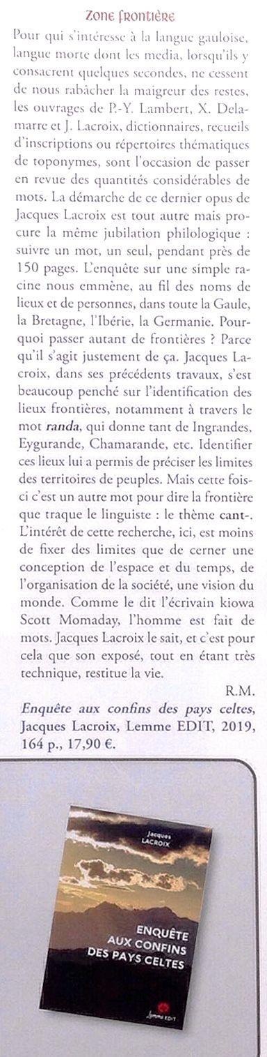 Article Keltia n° 52 Enquête aux confins des pays celtes Jacques Lacroix